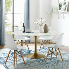 Round dining room table - Whether you are building yourself or ordering a custom piece, the design of your own dining table White Round Dining Table, Mid Century Dining Table, Marble Top Dining Table, Tulip Dining Table, Modern Dining Table, Circular Dining Table, Round Dining Room Tables, White Tables, Round Tables