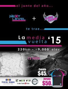https://www.mieventoonline.com/index.php/events/event-catagories/ciclismo-recreativo/event/53/La-Media-Vuelta--15  Inscribete online: Gran Fondo de 220kms y 9,000 pies de escalada en ruta Alto Rendimiento!