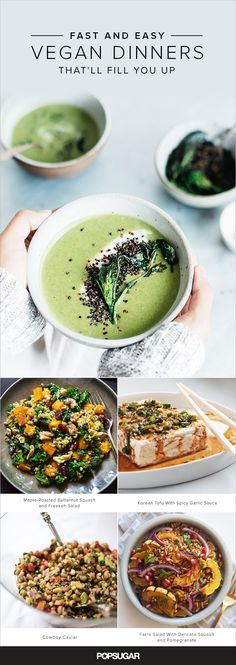 Vegan fare is sometimes — incorrectly — perceived to be rabbit food. And sure, that can be the case with some salad, pasta, and grain-based Easy Vegan Dinner, Vegan Dinner Recipes, Veggie Recipes, Whole Food Recipes, Vegetarian Recipes, Healthy Recipes, Pasta Recipes, Vegan Foods, Vegan Dishes