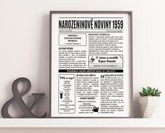 Narozeninové noviny 1959 elektronické - jako milý dárek | Lepilova.cz Letter Board, Lettering, Retro, Gifts For Birthday, Drawing Letters, Retro Illustration, Brush Lettering