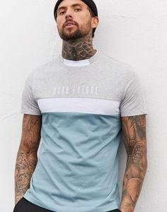 Buy ASOS DESIGN x Dark Future colour block t-shirt with contrast neck and Dark Future logo embroidery at ASOS. Get the latest trends with ASOS now. Mens Stylish T Shirts, Mens Polo T Shirts, Casual T Shirts, Sports Shirts, Cool Shirts, Levis T Shirt, T Shirt Vest, Shirt Print Design, Polo T Shirt Design