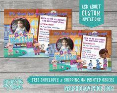 Personalized Doc McStuffins Birthday Invitation  Disney Jr