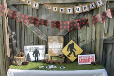 Items similar to Bigfoot themed party decorations on Etsy Happy Birthday Banners, Boy Birthday Parties, 10th Birthday, Birthday Ideas, Birthday Stuff, Bigfoot Birthday, Bigfoot Party, Camping Theme, Baby Shower Themes