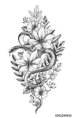 Hand drawn monochrome snake among flowers - buy this illustration and . - Hand Drawn Monochrome Snake among Flowers – Buy this stock illustration and explore similar illus - Hamsa Tattoo, Tattoo Snake, Snake And Flowers Tattoo, Flower Tattoo Hand, Flower Thigh Tattoos, Tattoos Of Flowers, Unalome Tattoo, Tattoo Thigh, Cute Tattoos