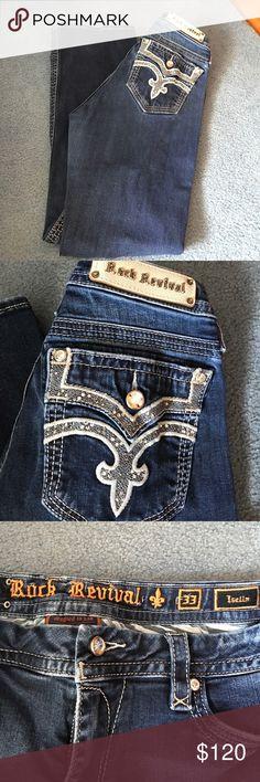 Easy boot cut rock revival jeans Super cute easy boot cut rock revival jeans. Excellent condition. Rock Revival Jeans Boot Cut