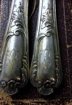 """Monogrammed French silver...  I've been trying to collect """"S"""" monogrammed silverware for ages and I can't ever find that letter.  I think i'm just gong to start collecting spoons no matter what the initial and put them on the """"Silver"""" tray w/the coffee things!  So keep your eye out and if you can find any cheap (and you know what cheap means to me, pick it up if you can and i'll pay you)."""