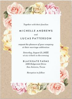 This blush pink Watercolor Floral Wedding Invitations feature a beautiful Vintage chic of blush pink and yellow watercolor roses with a kraft paper background make this the perfect choice for both spring and summer weddings. This classic design style is a lovely idea for wedding invites that will stay forever timeless. It is part of a collection of Vintage Floral theme wedding stationery invitations cards that you can edit and personalize. Creative Wedding Invitations, Letterpress Wedding Invitations, Printable Wedding Invitations, Wedding Stationery, Invites, Romantic Wedding Colors, Romantic Wedding Receptions, Pink Wedding Decorations, Pink Wedding Theme