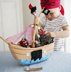 Oskar and Ellen Fabric Jolly Roger Pirate Ship by Oskar & Ellen