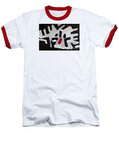 Patrick Francis White / Red Designer Baseball T-Shirt featuring the painting White Tiger by Patrick Francis