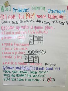 Problem Solving Strategies for Word Problems - would probably break up step number 2 though...solve, then reflect by checking your answer