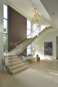 Modern Staircase Design Ideas - Modern stairs come in lots of styles and designs that can be actual eye-catcher in the different area. We have actually put together finest 10 modern models of staircases that can give. Staircase Design Modern, Stair Railing Design, Home Stairs Design, Interior Stairs, Home Room Design, Modern House Design, Home Interior Design, House Staircase, Staircase Ideas