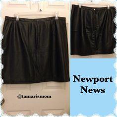 "Newport News Leather Skirt Black. Shell 100% Leather. Lining: 75% nylon 25% spandex.  Length 21"". Size 22. Newport News Skirts"