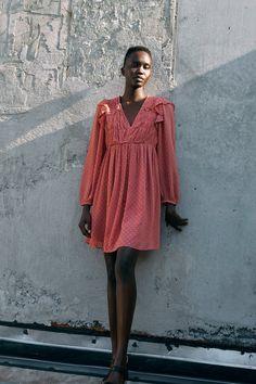 PRINTED MINI DRESS - Multicoloured | ZARA United Kingdom Marsala, Vestidos Zara, V Neck Dress, Dot Dress, Swiss Dot, Zara United States, Mesh Dress, Zara Dresses, Neckline