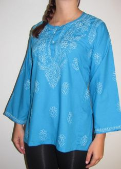 Product No: 5269 Our wide selection of Womens Designer #Tops / #Tunics in Cotton features this Deep Turquoise Cotton #Tunic on #Sale at #YoursElegantly. This #top is styled to make a flowy tunic fit, hip covering, long sleeves, all over delicate embellishment so it can be worn casual or even for evening wear in Spring Summer and all through Fall.  #CottonTunic #CottonTop