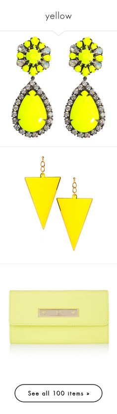 """yellow"" by darlingchick ❤ liked on Polyvore featuring jewelry, earrings, accessories, brincos, jewels, stone jewellery, clear crystal earrings, yellow earrings, clear earrings and shourouk"