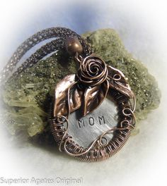 Antiqued Copper Wire Wrapped Hand Stamped Mom by superioragates, $50.00