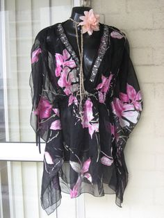 20OFF..Stunning Sheer Chiffon Pink  Black Butterfly by GlamourZoya, $69.00