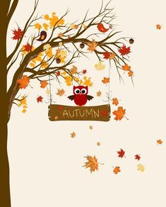 Autumn Art, love the cute lil birdie in the tree! Autumn Crafts, Autumn Art, Autumn Leaves, Seasons Of The Year, Happy Fall Y'all, Fall Cards, Autumn Inspiration, Fall Season, Fall Halloween