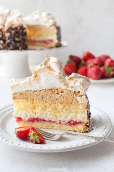 Royal Cake with strawberries, meringue , walnut & truffle cream