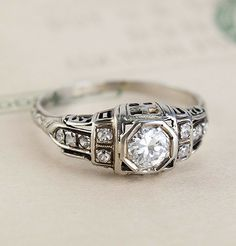 Early Deco Architectural Filigree Engagement Ring, $1,900.00
