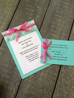 Lace Aqua & Pink Wedding Invitation with RSVP by TheBlushingBelle, $3.25