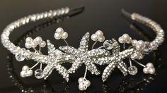 Trio Starfish Tiara.... Available from www.preciousaccessories.co.uk #starfish #starfishtiara #tiara #bridaljewellery #bridalaccessories #bridal #bride #brides #wedding #weddings #pearltiara #diamante
