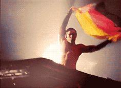 Richard Z Kruspe waving flag like a boss.
