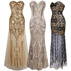 1920s Strapless Dress Deco Great Gatsby Vintage Sequin Cocktail Party Long Gown | Clothing, Shoes & Accessories, Women's Clothing, Dresses | eBay!