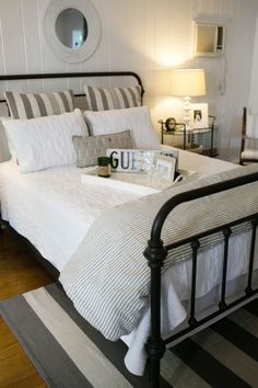 Quaint guest bedroom: http://www.stylemepretty.com/living/2014/10/20/the-picket-fence-project-home-tour/ | Photography: Bruce Plotkin - http://www.bruceplotkin.com/