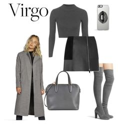 """Virgo Girl"" by tessawarongan on Polyvore featuring Stuart Weitzman, Topshop, Alexander Wang, Valextra, Boohoo, Lipsy, grey, coat, Virgo and dusterjacket"