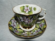 """ROYAL ALBERT Bone China England - """"Purple Violet"""" - vintage cup and saucer duo"""