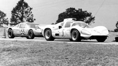 Chaparral 2D with 427 Chevy on the infield portion of Sebring, 1967. Author undetermined.