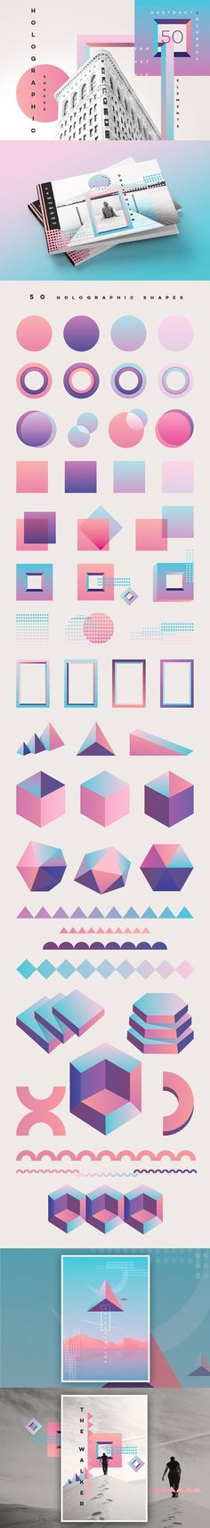 50 Holographic Shapes by Polar Vectors on These colorful geometric shapes can be used in poster concepts, brochure designs, branding and so much more. Graphisches Design, Layout Design, Print Design, Logo Design, Shape Design, Design Elements, Modern Design, Design Ideas, Brochure Design