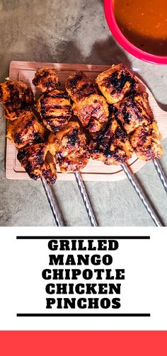 Mango Chipotle Chicken Skewers- The warmer weather is finally here and what better way to celebrate than to make some chicken on the grill? These pinchos as super easy to make and will transport you to your favorite tropical island/country! Enjoy and let me know what you think! #easyrecipes #pinchosrecipe