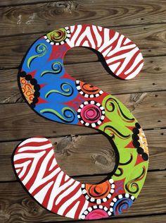 Wooden Initial/ Letter Door/Wall Hanger by SimplyShabbyByBella Painting Wooden Letters, Diy Letters, Letter A Crafts, Painted Letters, Wood Letters, Hand Painted, Letter Door Hangers, Initial Door Hanger, Burlap Door Hangers