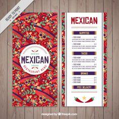 Plantilla de menú mexicano de calaveras Vector Gratis