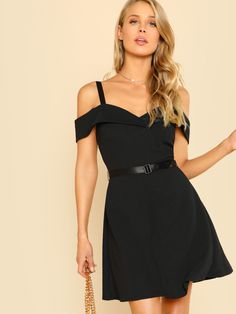 61373a1f62 Shop Fold Over Cold Shoulder Belted Dress online. SheIn offers Fold Over  Cold Shoulder Belted