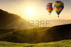 hot air balloons: Ballooning flying over the tea plantation