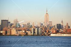 New York Skyline at Sunset Royalty Free Stock Photo