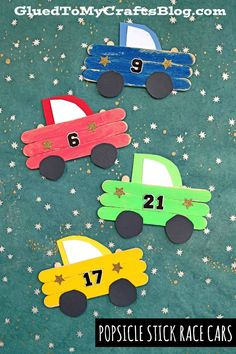 We are racing by with this Popsicle Stick Race Cars kid craft tutorial. Summer Art Projects, Summer Crafts, Projects For Kids, Diy For Kids, Cars For Kids, Popsicle Stick Crafts For Kids, Craft Stick Crafts, Craft Stick Projects, Craft Sticks