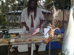 Fish vendor in Mayaro Trinidad