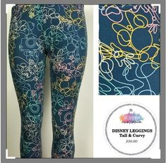 92ebcf8ceaa1a Details about Lularoe Leggings TC2- Disney - Mickey Minnie Ears with Leaves