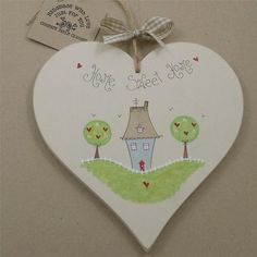 Hand Painted Personalised Heart www.countrystyleclutter.com