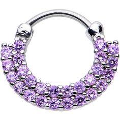 "16 Gauge 3/8"" Tanzanite CZ Double Row of Glamour Septum Clicker | Body Candy Body Jewelry"