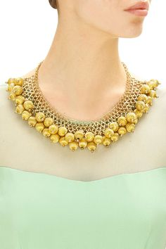 Gold plated textured bead jaal necklace available only at Pernia's Pop-Up Shop.