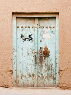 Pale green door