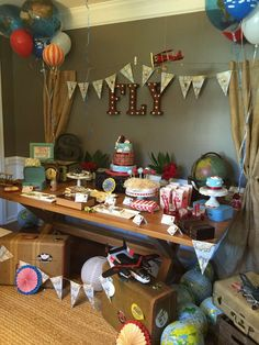 Vintage airplanes birthday party! See more party planning ideas at CatchMyParty.com!
