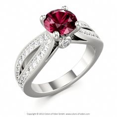 Engagement Ring with Rhodolite Garnet and Diamonds #engagement #ring