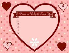 Here is an cute printable for Valentine's Day - print off this super easy Valentine's Day Placemat to show off why you love them!