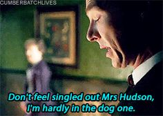 SHERLOCK (BBC) ~ From the July 9, 2015 promo video Sherlock: A First Look At The Sherlock Special. Sherlock Holmes (Benedict Cumberbatch) and Mrs. Hudson (Una Stubbs). [GIF]
